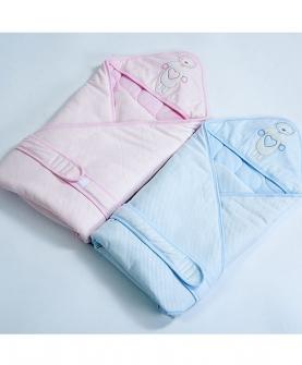 婴儿针织夹棉抱被
