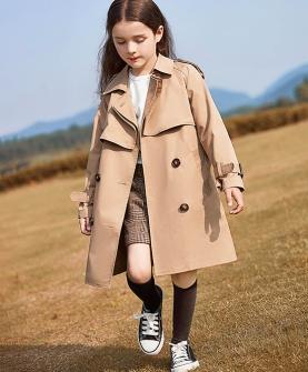 女童风衣中长款儿童外套秋装2019新款