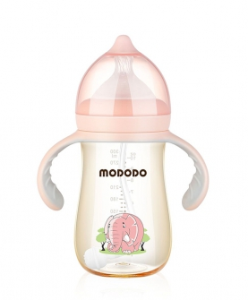 PPSU宽口时尚有柄自动奶瓶