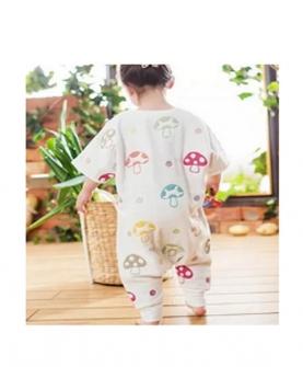 天鹭贝贝纯棉蘑菇图案分腿睡袋