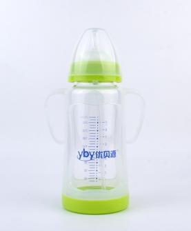 晶钻带保护套玻璃奶瓶260ml