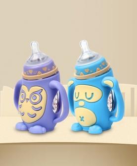 卡通狸猫型玻璃 奶瓶240ML