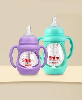 硅胶套葫芦型玻璃奶瓶奶瓶150ML/240ML