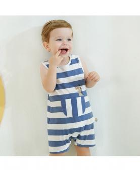 夏季婴幼儿条纹印花无袖连体哈衣