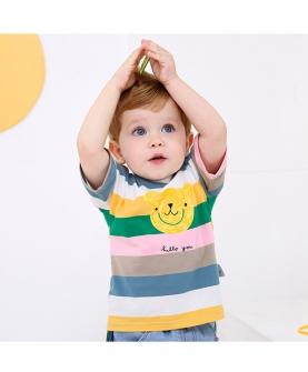 婴幼儿宝宝夏装T恤彩虹条纹短袖
