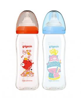 宽口径玻璃奶瓶猪年生肖奶瓶M号奶嘴240ml