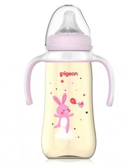 双手柄宽口径PPSU塑料彩绘奶瓶330mL