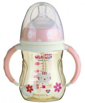 粉红宽口PPSU奶瓶双色系列(180ml)