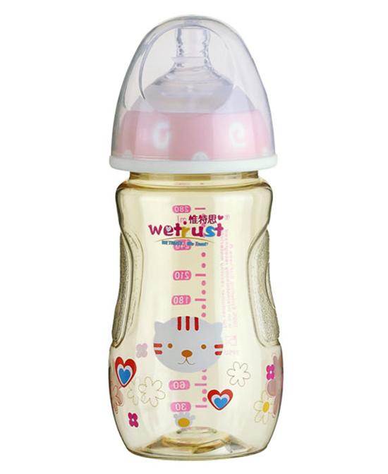 惟特思粉红宽口PPSU奶瓶双色无把手(280ml)