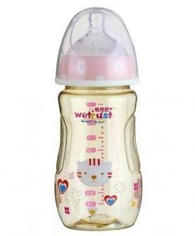 粉红宽口PPSU奶瓶双色无把手(280ml)