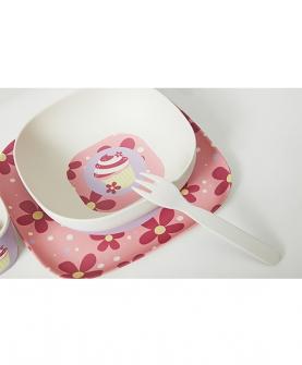 粉色纸杯蛋糕竹纤维餐具3件套