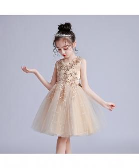 女童短款夏婚纱礼服
