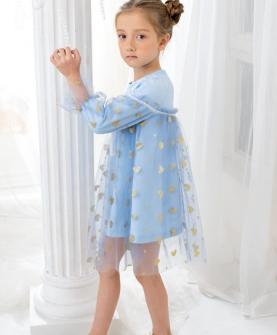 蓝色碎花连衣裙