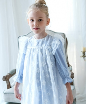 蓝色雪纺连衣裙