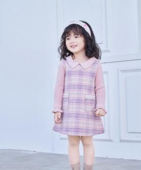新品粉色条纹连衣裙