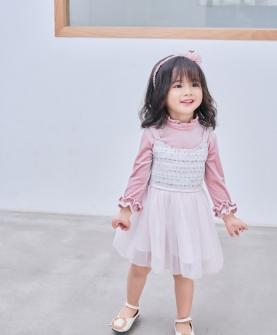 新品粉白半透明连衣裙