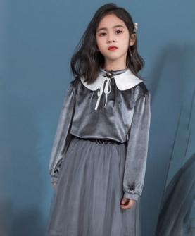 娃娃领深灰色网纱连衣裙